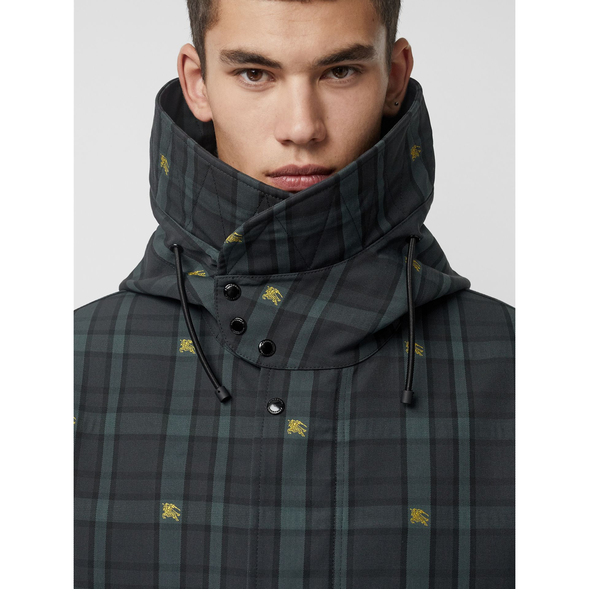 Equestrian Knight Check Nylon Hooded Jacket in Dark Cyan - Men | Burberry - gallery image 4