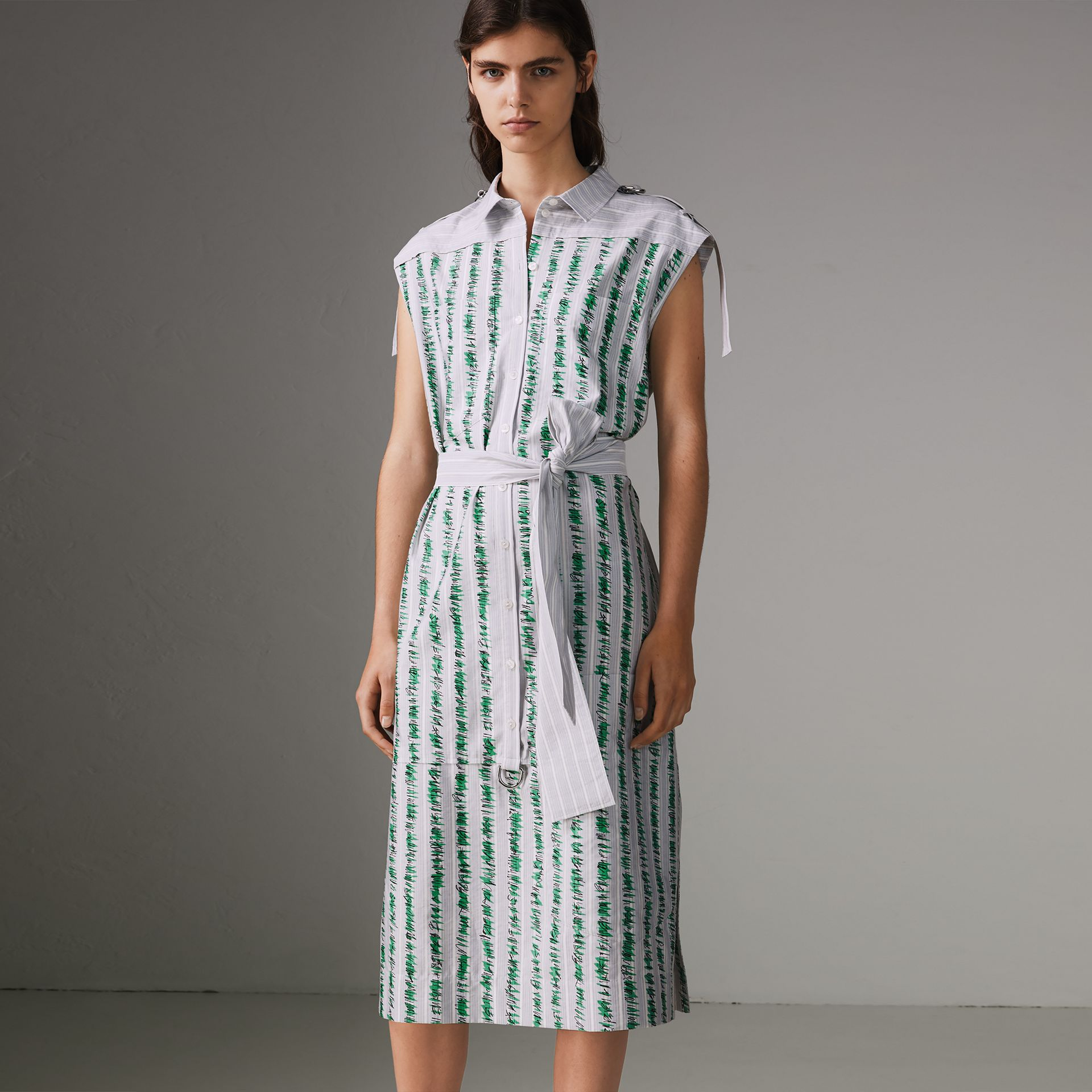 Scribble Stripe Cotton Shirt Dress in Bright Navy - Women | Burberry Singapore - gallery image 0