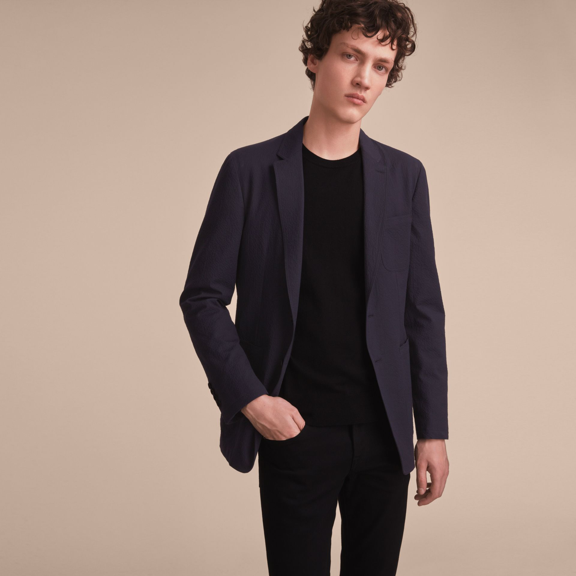 Stretch Cotton Seersucker Blazer - Men | Burberry - gallery image 7