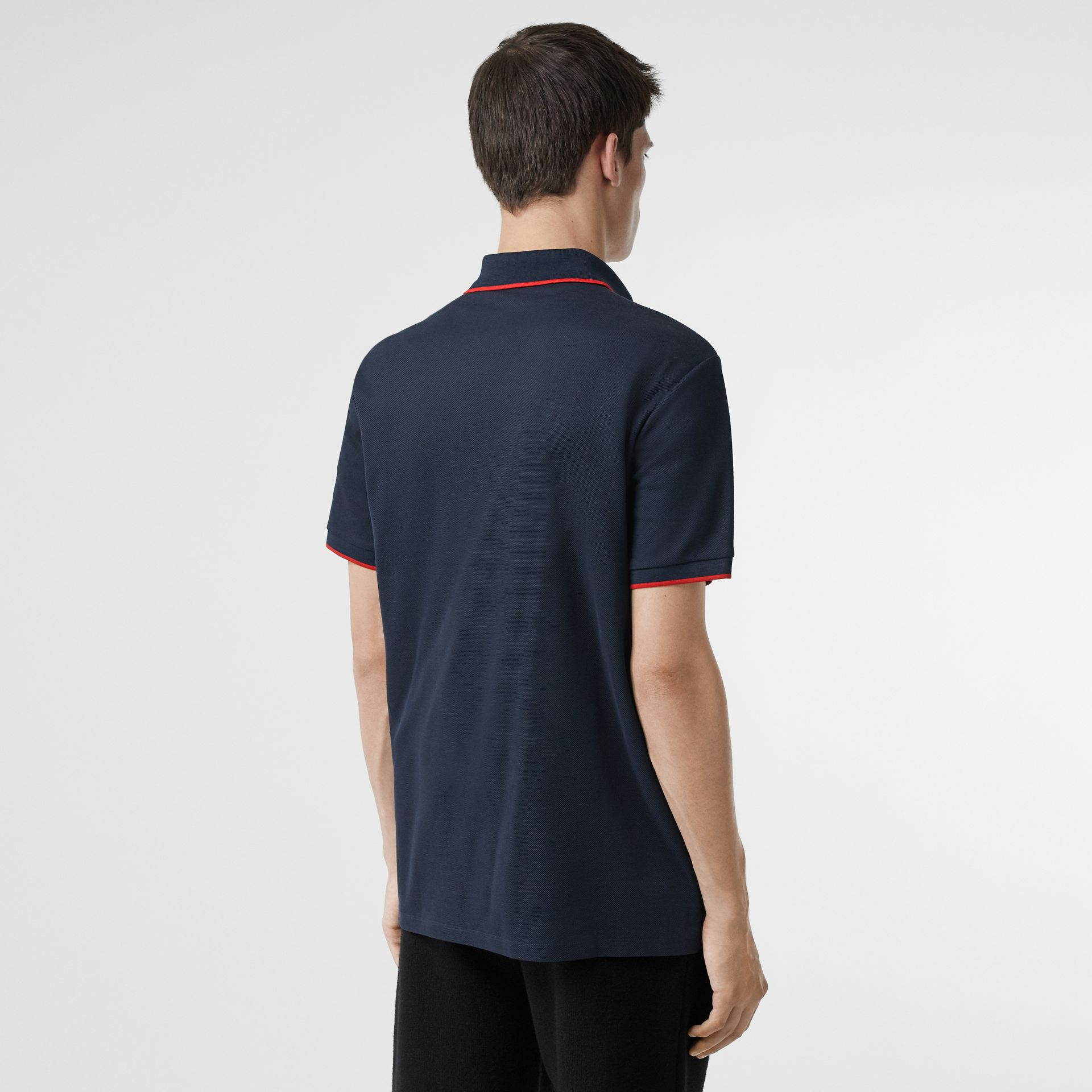 Monogram Motif Tipped Cotton Piqué Polo Shirt in Navy - Men | Burberry - gallery image 2