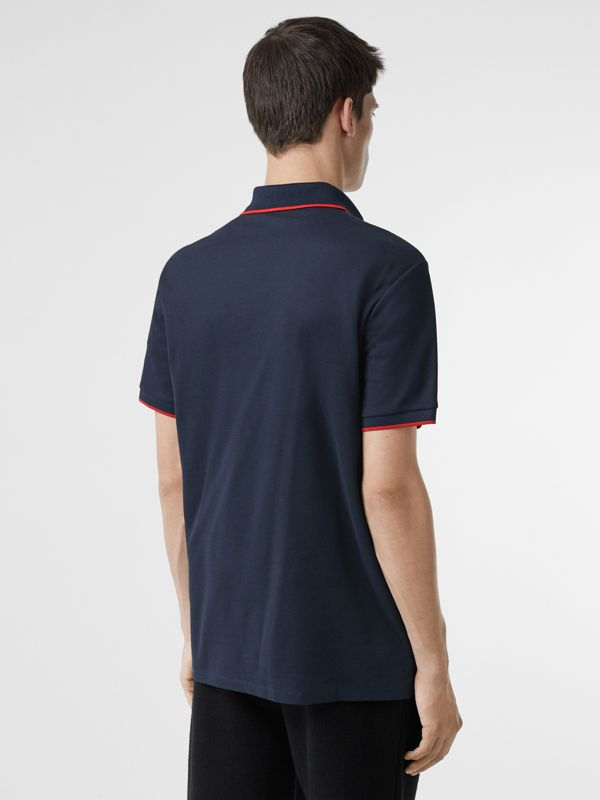 Monogram Motif Tipped Cotton Piqué Polo Shirt in Navy - Men | Burberry - cell image 2