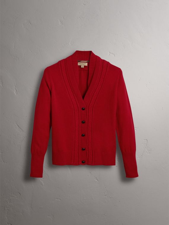 Cable Knit Detail Cashmere Cardigan in Military Red - Women | Burberry Singapore - cell image 3