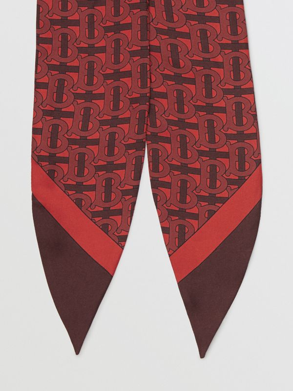 Monogram Print Silk Hair Scarf in Crimson - Women | Burberry - cell image 3