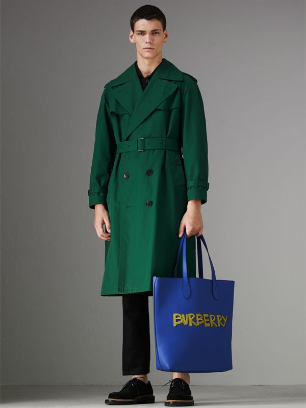 Graffiti Print Bonded Leather Tote in Denim Blue - Men | Burberry - cell image 2