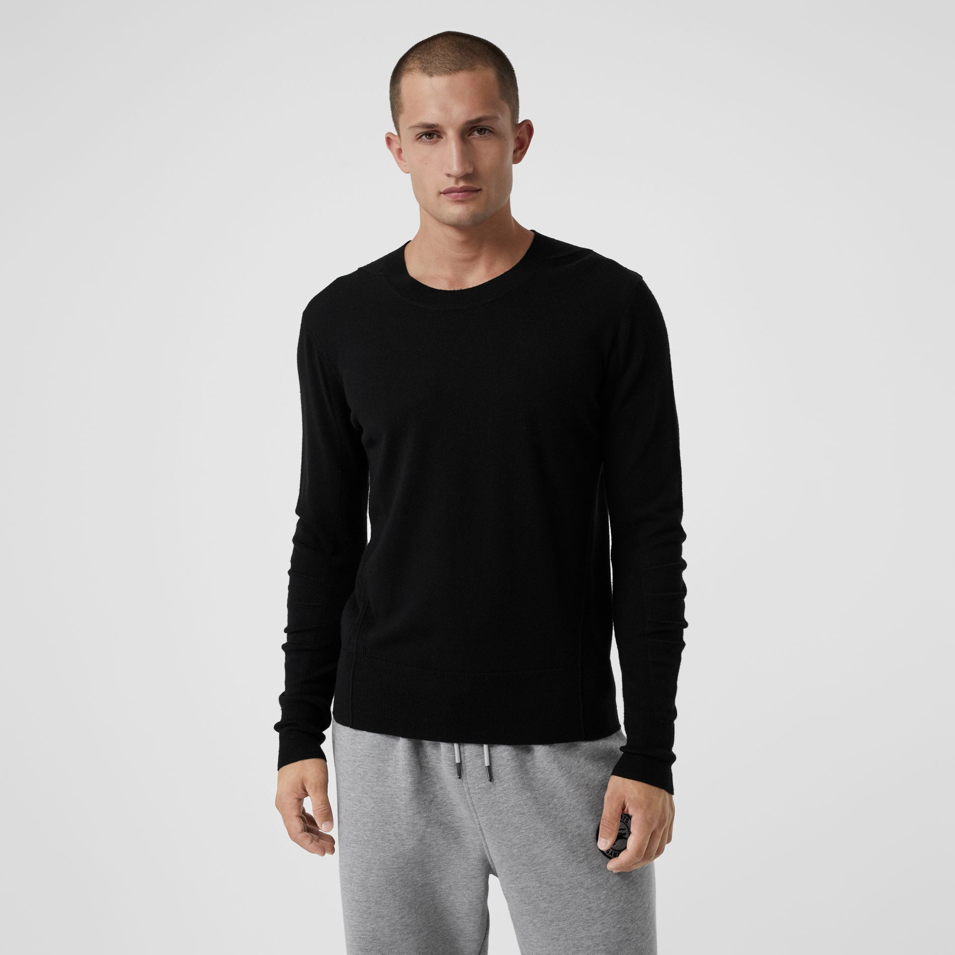 Check Detail Merino Wool Sweater in Black - Men | Burberry - gallery image 4