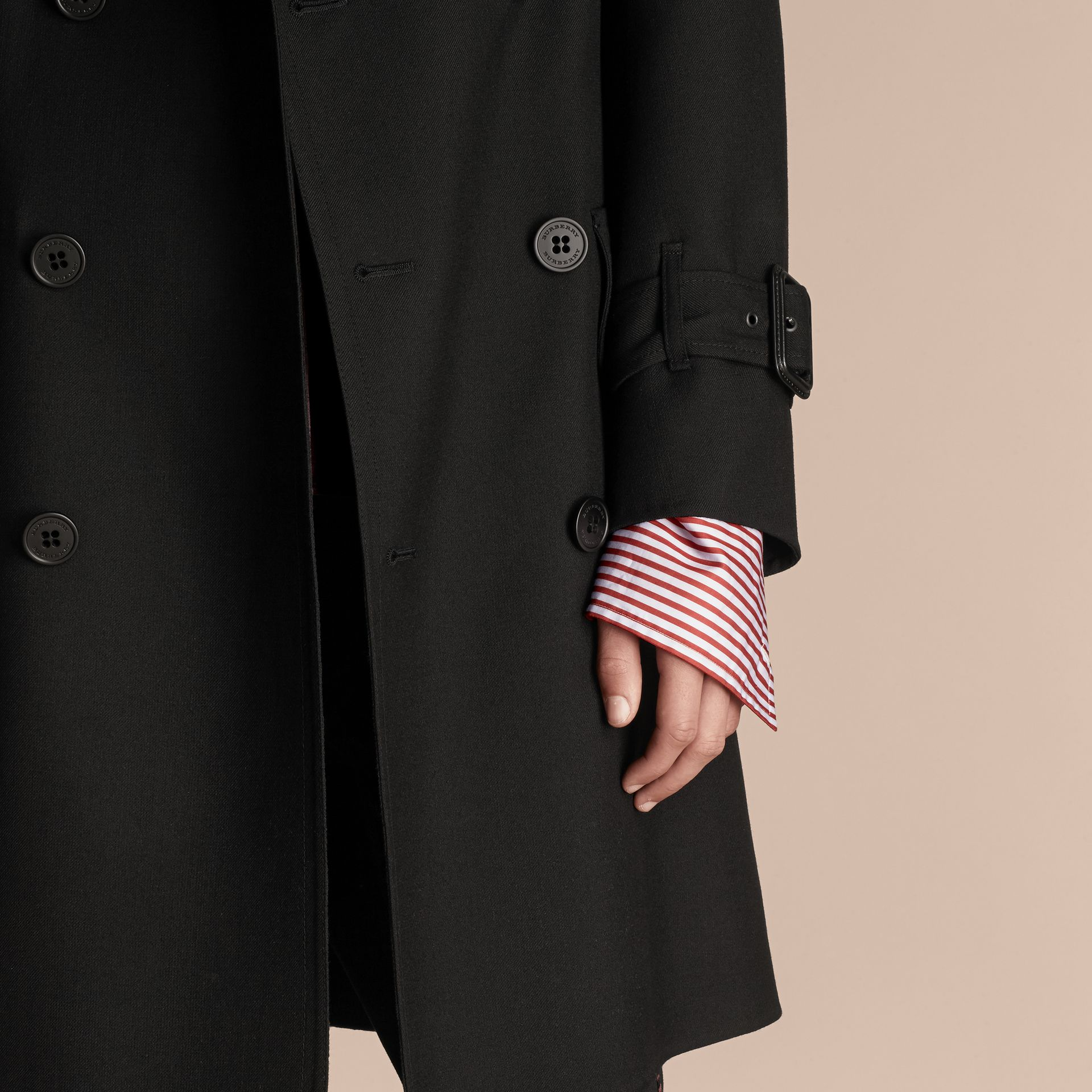 Black Relaxed Fit Wool Twill Trench Coat - gallery image 5