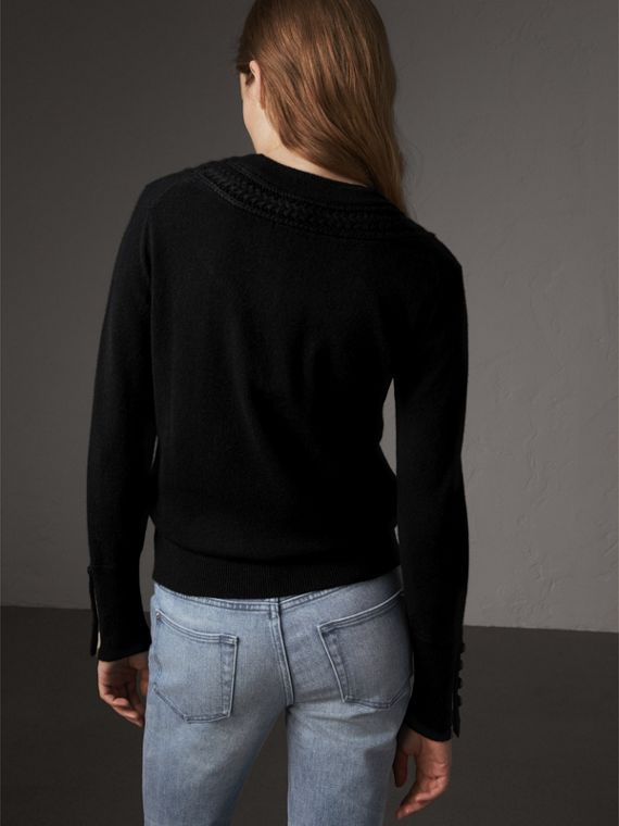 Cable Knit Yoke Cashmere Sweater in Black - Women | Burberry - cell image 2