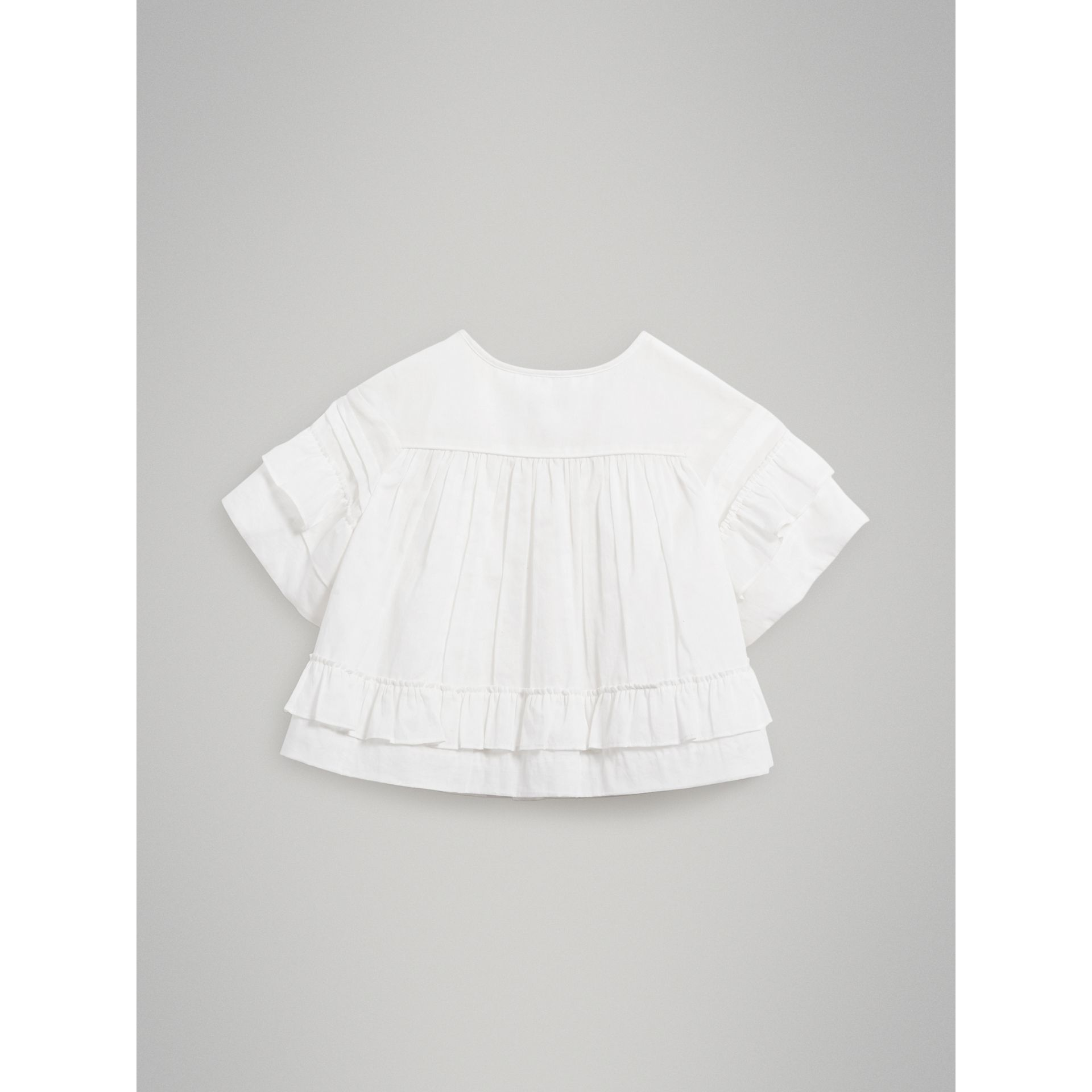 Smocked Cotton Shirt in White - Girl | Burberry - gallery image 3