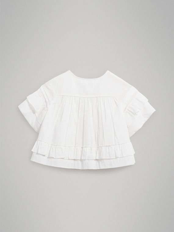 Smocked Cotton Shirt in White - Girl | Burberry - cell image 3