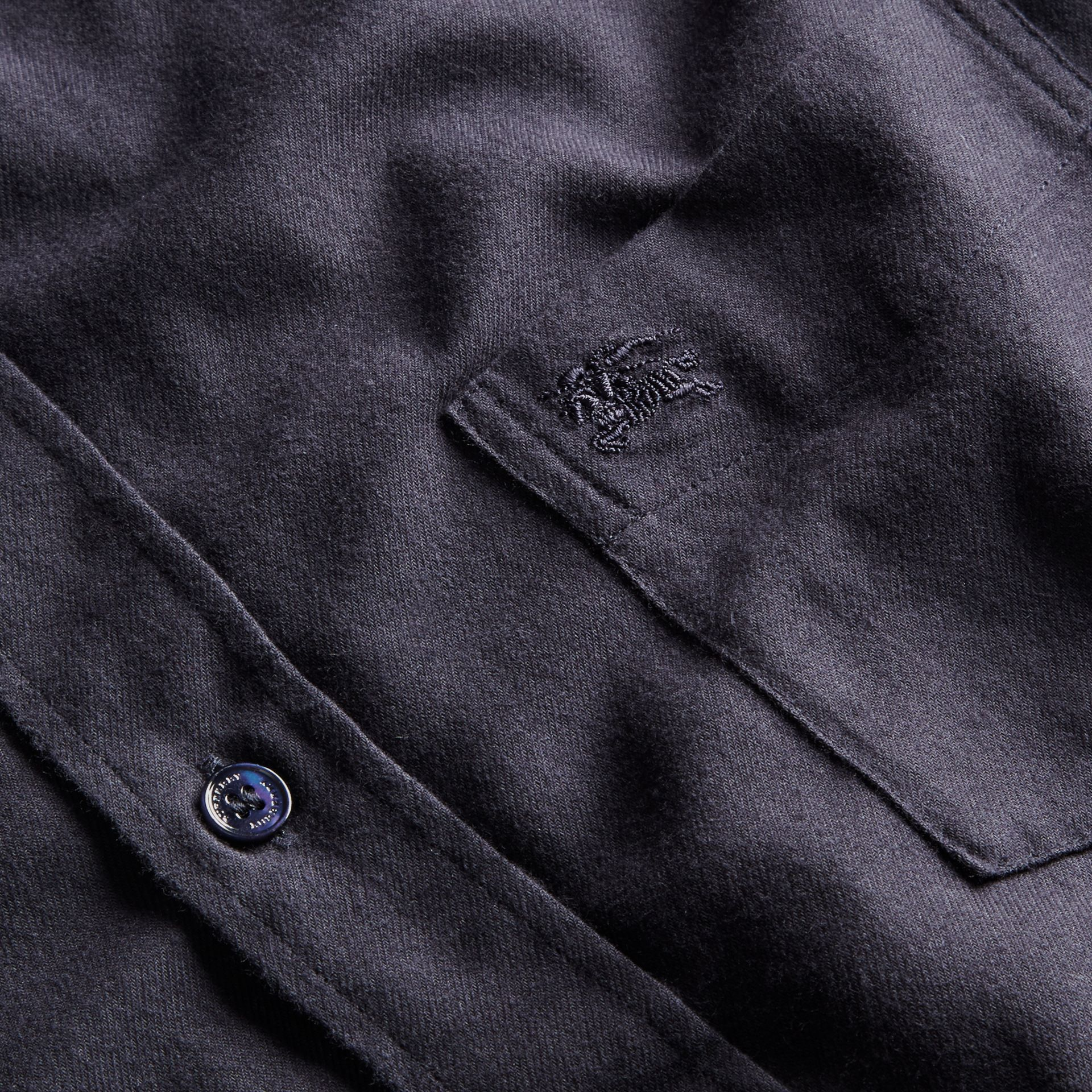 Check Detail Cotton Flannel Shirt Navy - gallery image 2