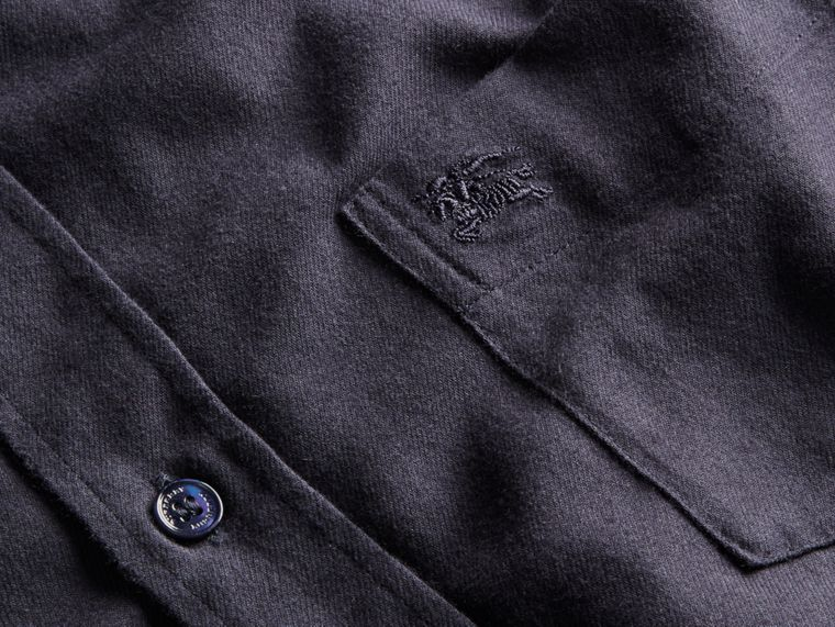 Check Detail Cotton Flannel Shirt in Navy - cell image 1