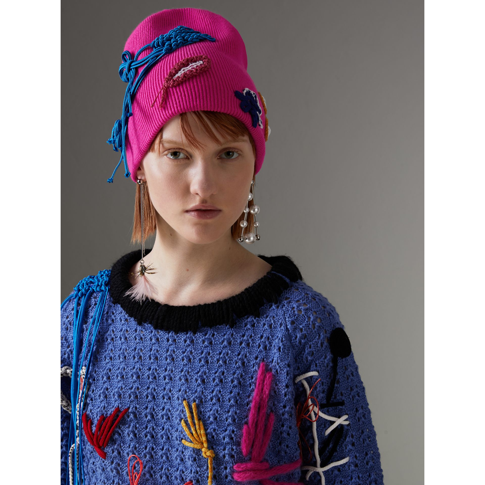Floral Crochet Cashmere Blend Beanie in Fuchsia Pink | Burberry United Kingdom - gallery image 2