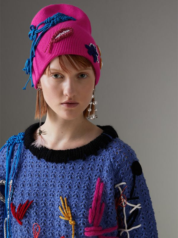 Floral Crochet Cashmere Blend Beanie in Fuchsia Pink | Burberry United Kingdom - cell image 2