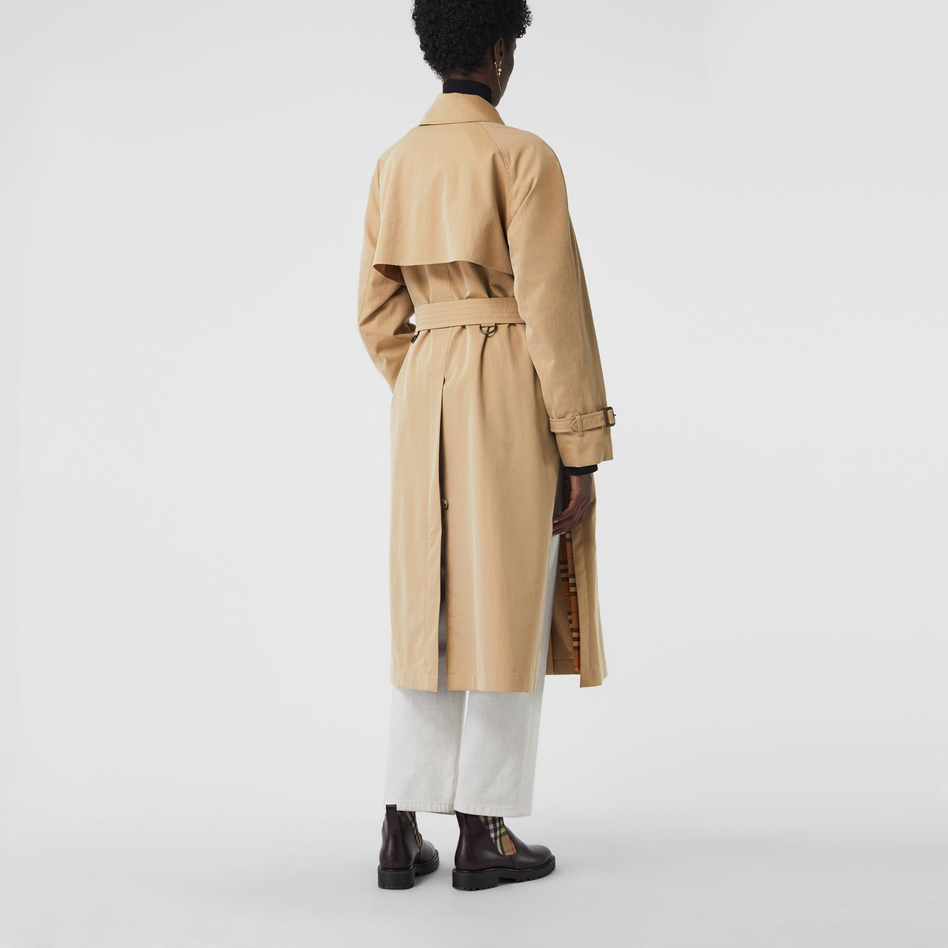Side-slit Tropical Gabardine Trench Coat in Honey - Women | Burberry Australia - gallery image 2