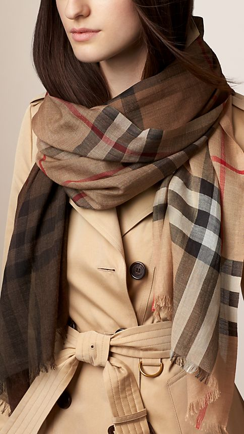 Camel check Lightweight Check Ombre Wool Silk Scarf - Image 2