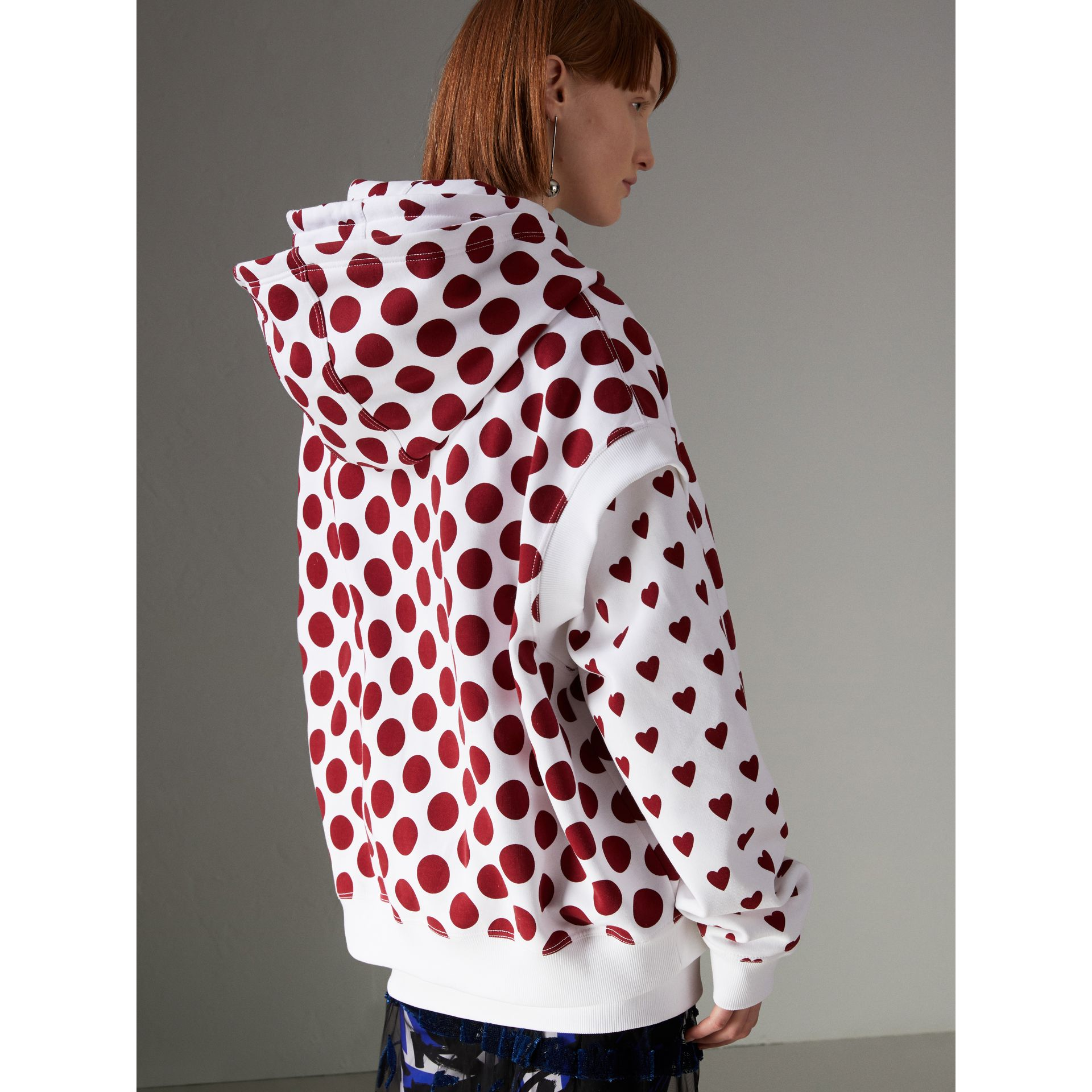 Spot Print Sleeveless Hoodie in Windsor Red - Women | Burberry - gallery image 2