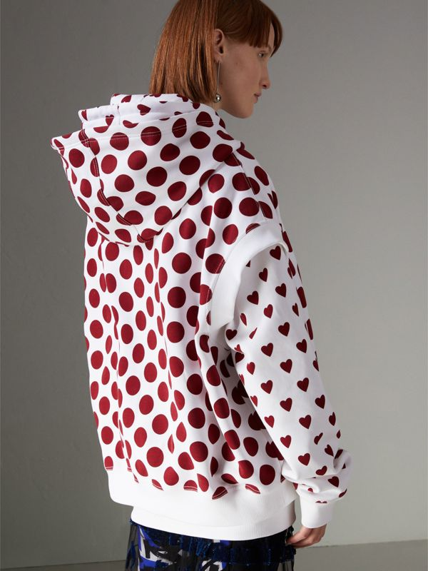 Spot Print Sleeveless Hoodie in Windsor Red - Women | Burberry United States - cell image 2