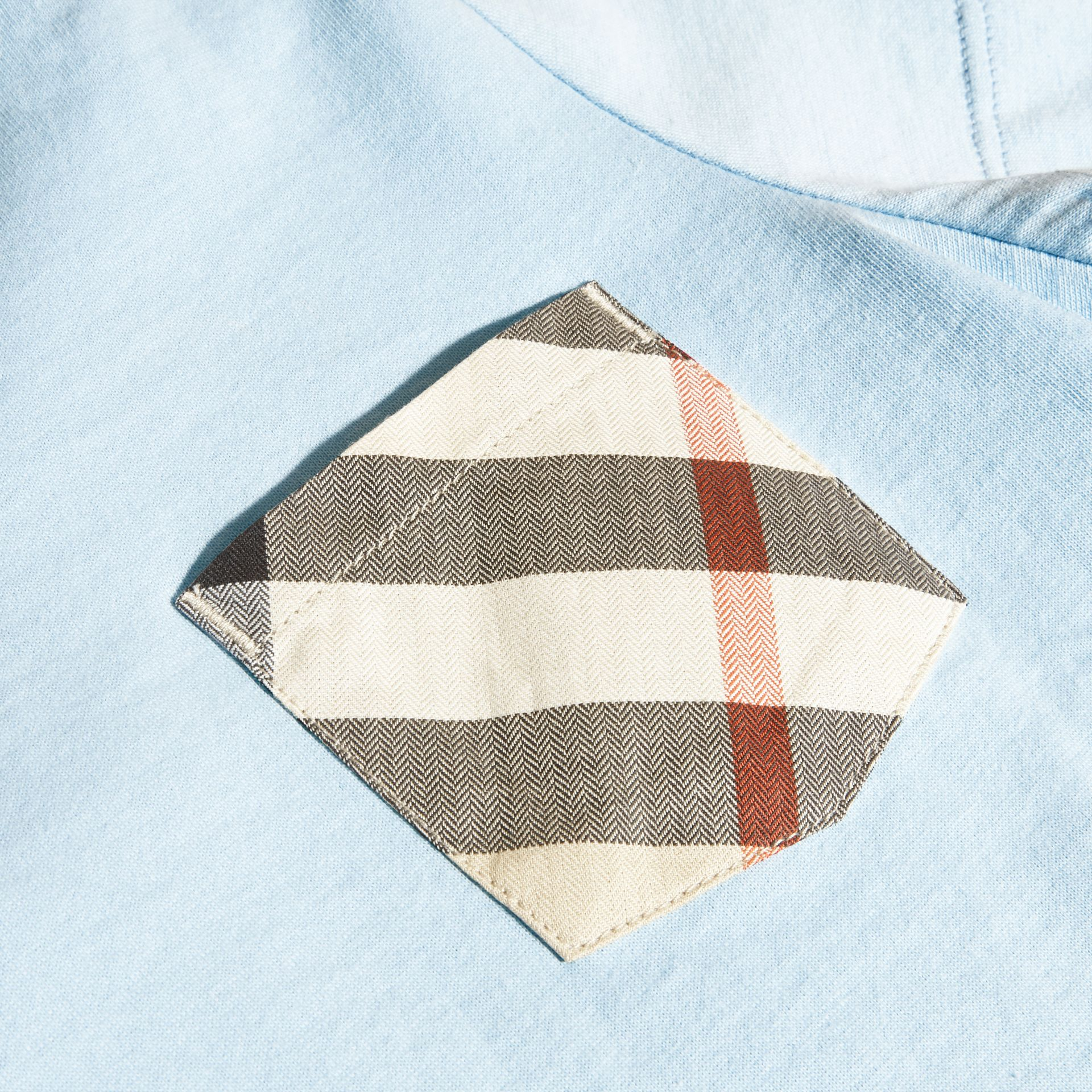 Check Pocket Cotton T-shirt in Light Blue - Boy | Burberry - gallery image 2