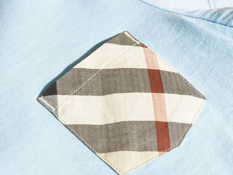 Check Pocket Cotton T-shirt in Light Blue - Boy | Burberry - cell image 1