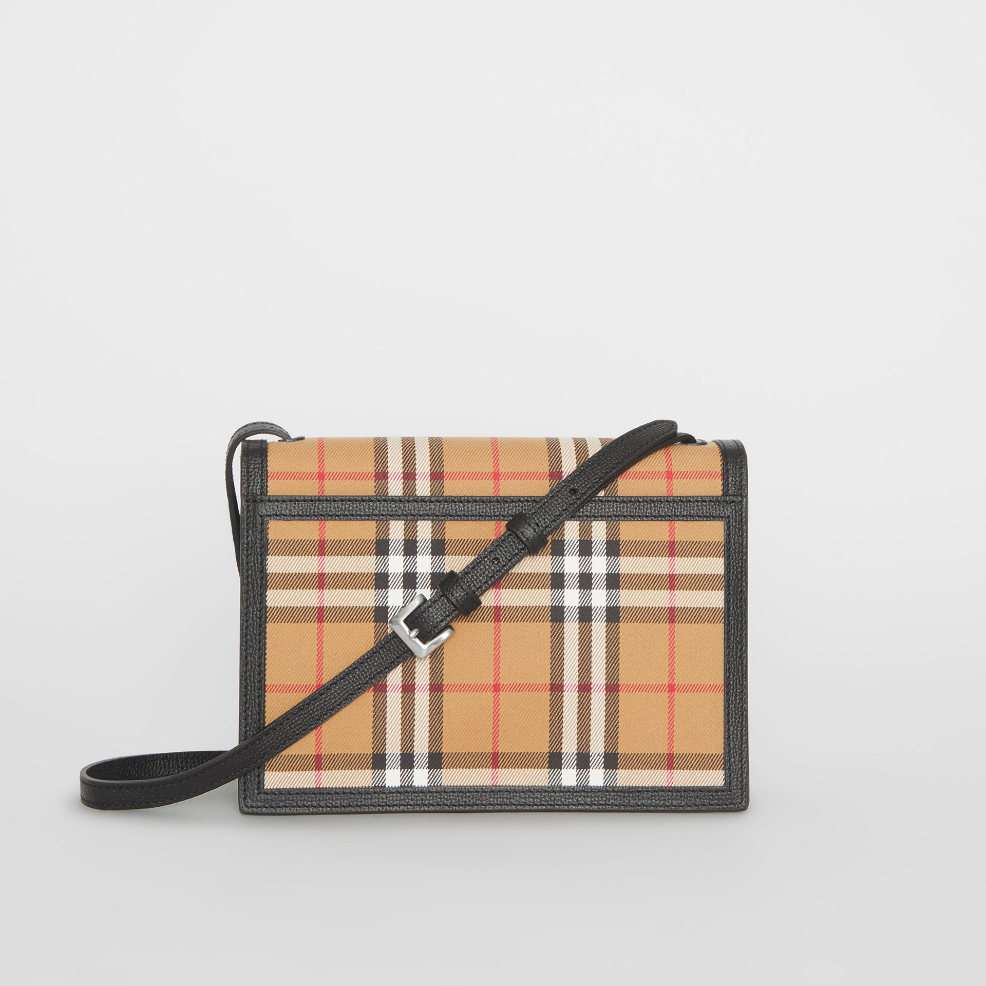 Small Vintage Check and Leather Crossbody Bag in Black - Women | Burberry Australia - gallery image 7