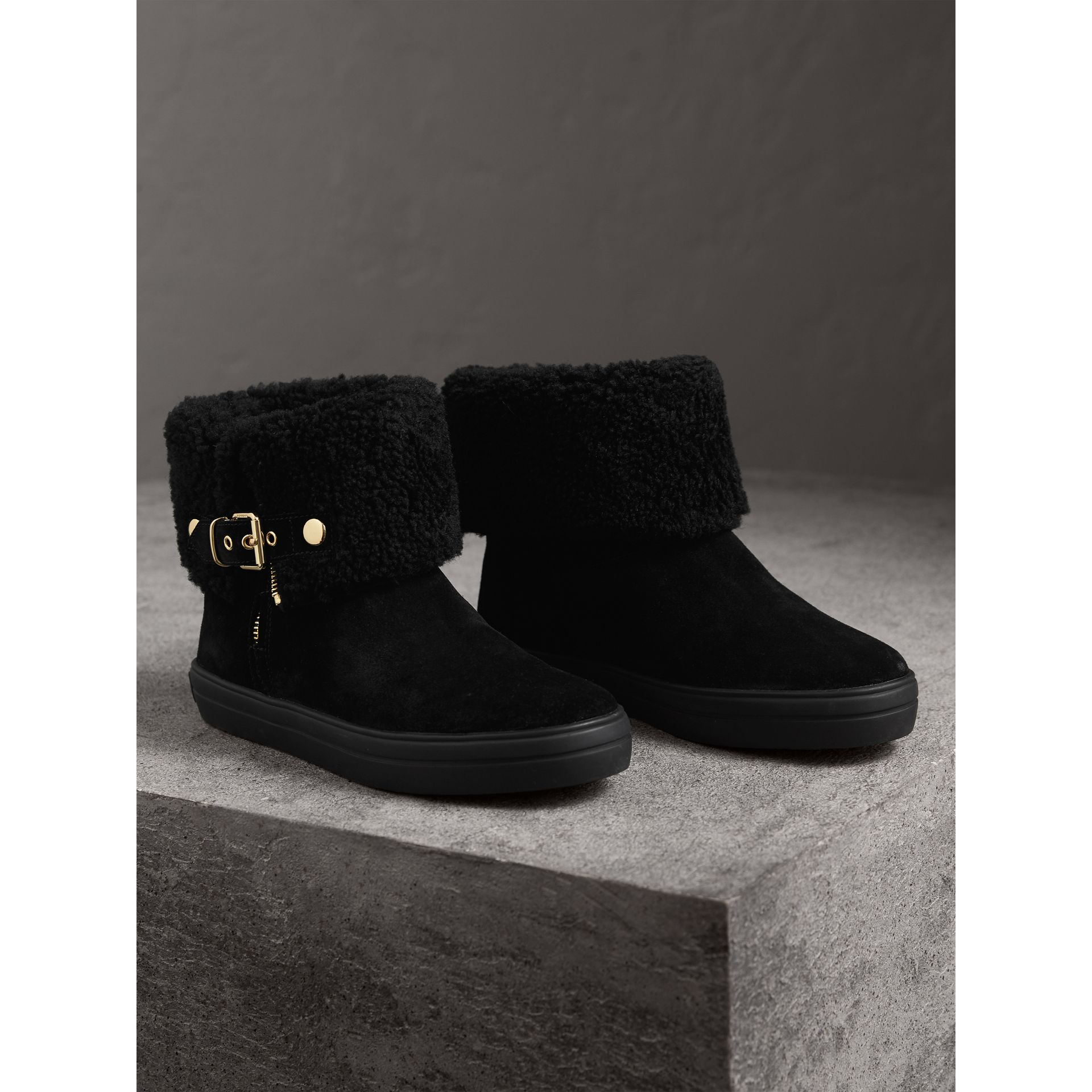 Shearling-lined Suede Ankle Boots in Black - Women | Burberry - gallery image 5