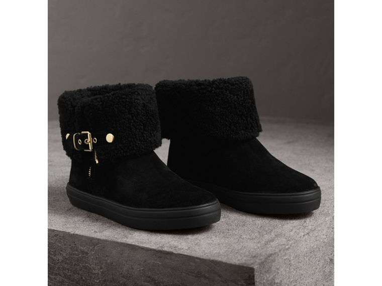 Shearling-lined Suede Ankle Boots in Black - Women | Burberry - cell image 4