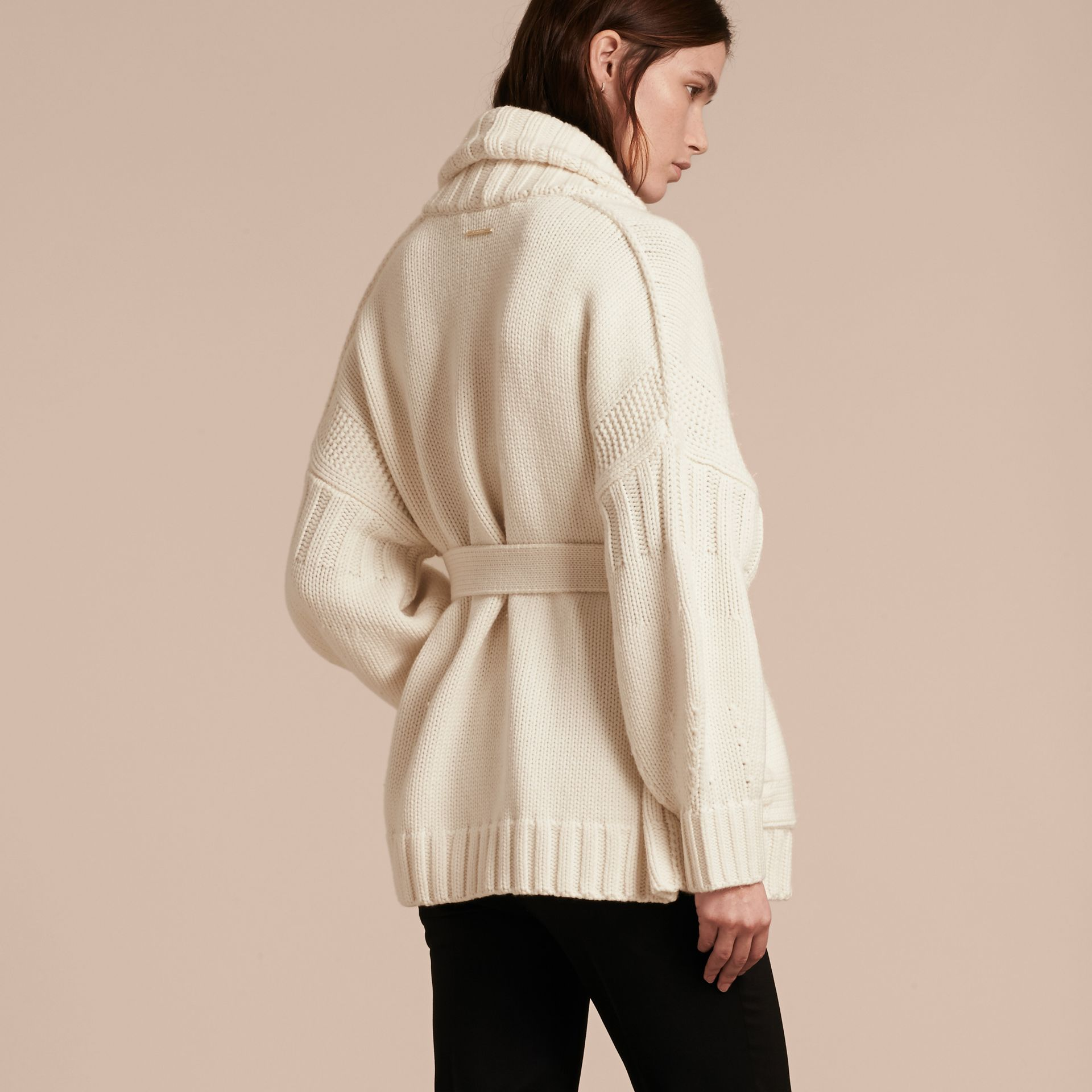 Knitted Wool Cashmere Belted Cardigan Jacket Natural White - gallery image 3