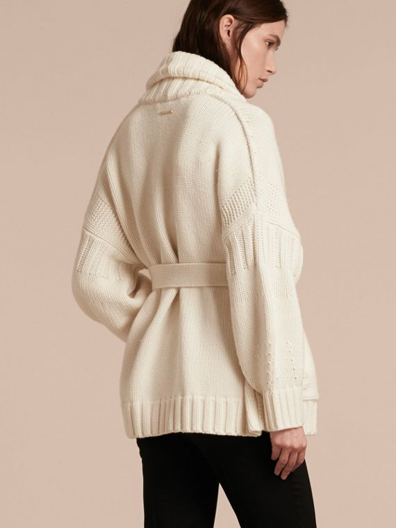 Knitted Wool Cashmere Belted Cardigan Jacket Natural White - cell image 2