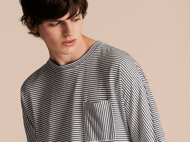 Striped Cotton Linen T-shirt - cell image 4