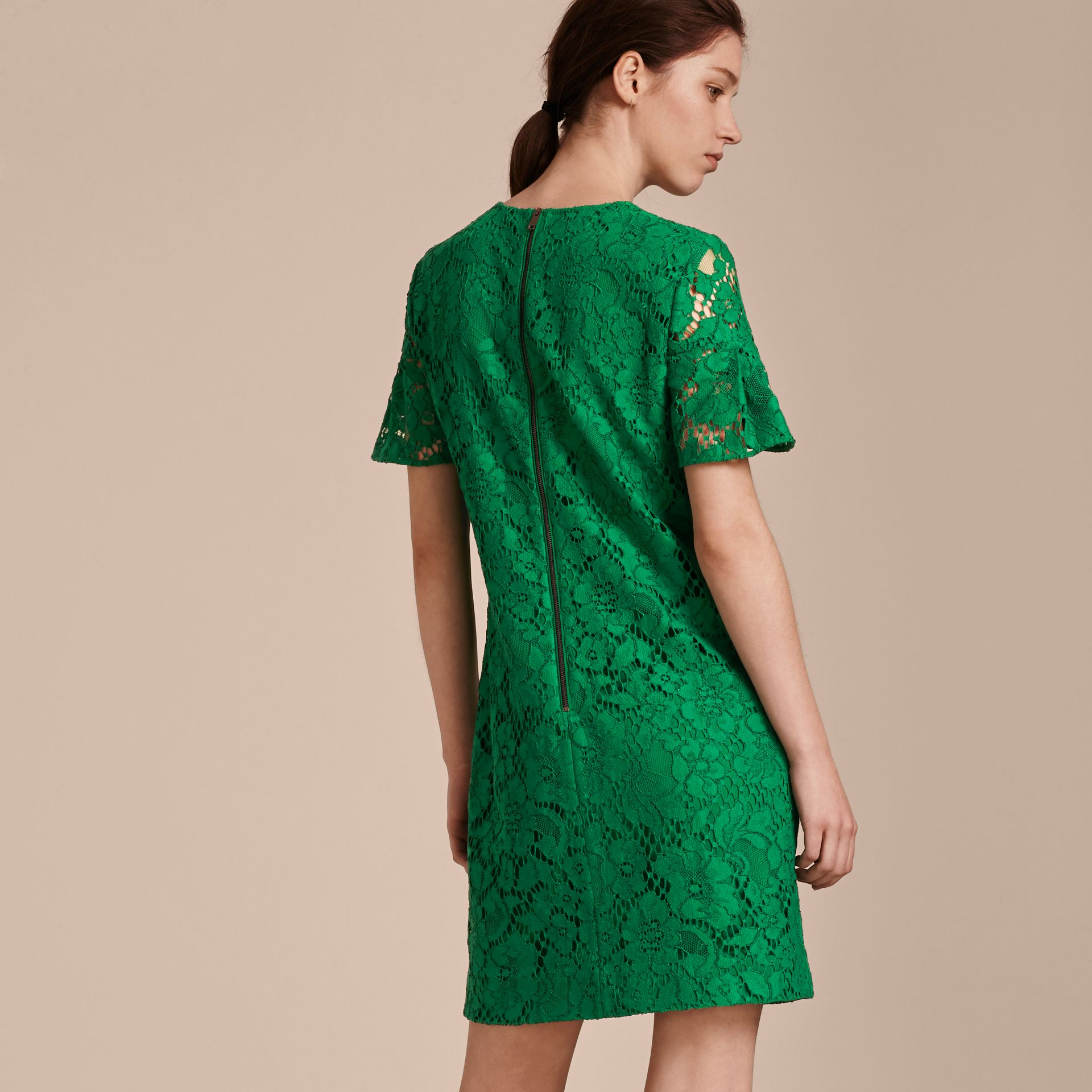 Macramé Lace Short Shift Dress with Ruffle Sleeves Kelly Green - gallery image 3