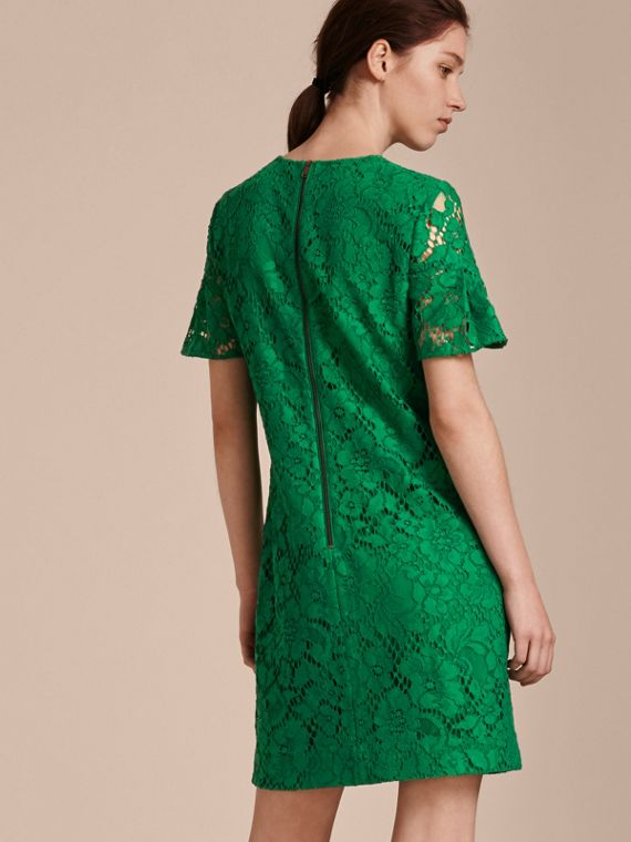 Macramé Lace Short Shift Dress with Ruffle Sleeves Kelly Green - cell image 2