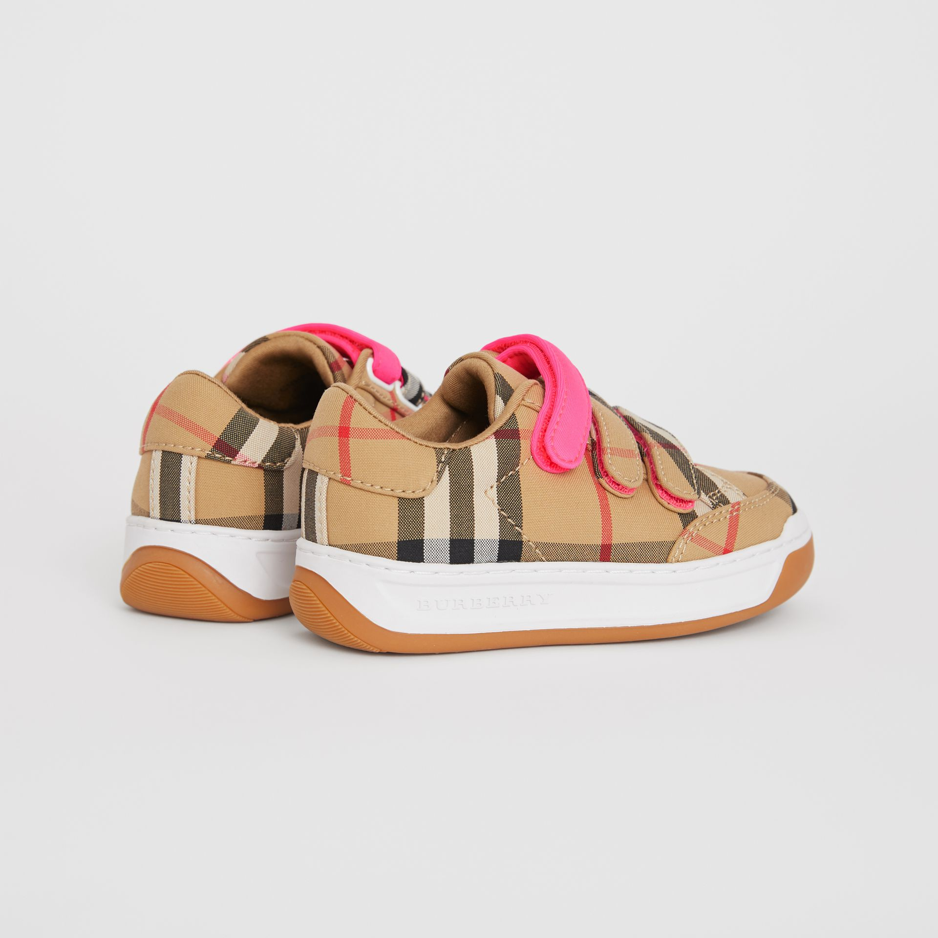 Vintage Check Sneakers in Antique Yellow/neon Pink - Children | Burberry - gallery image 2