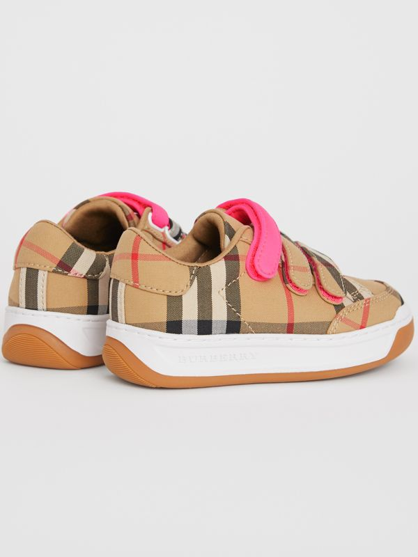 Vintage Check Sneakers in Antique Yellow/neon Pink - Children | Burberry - cell image 2