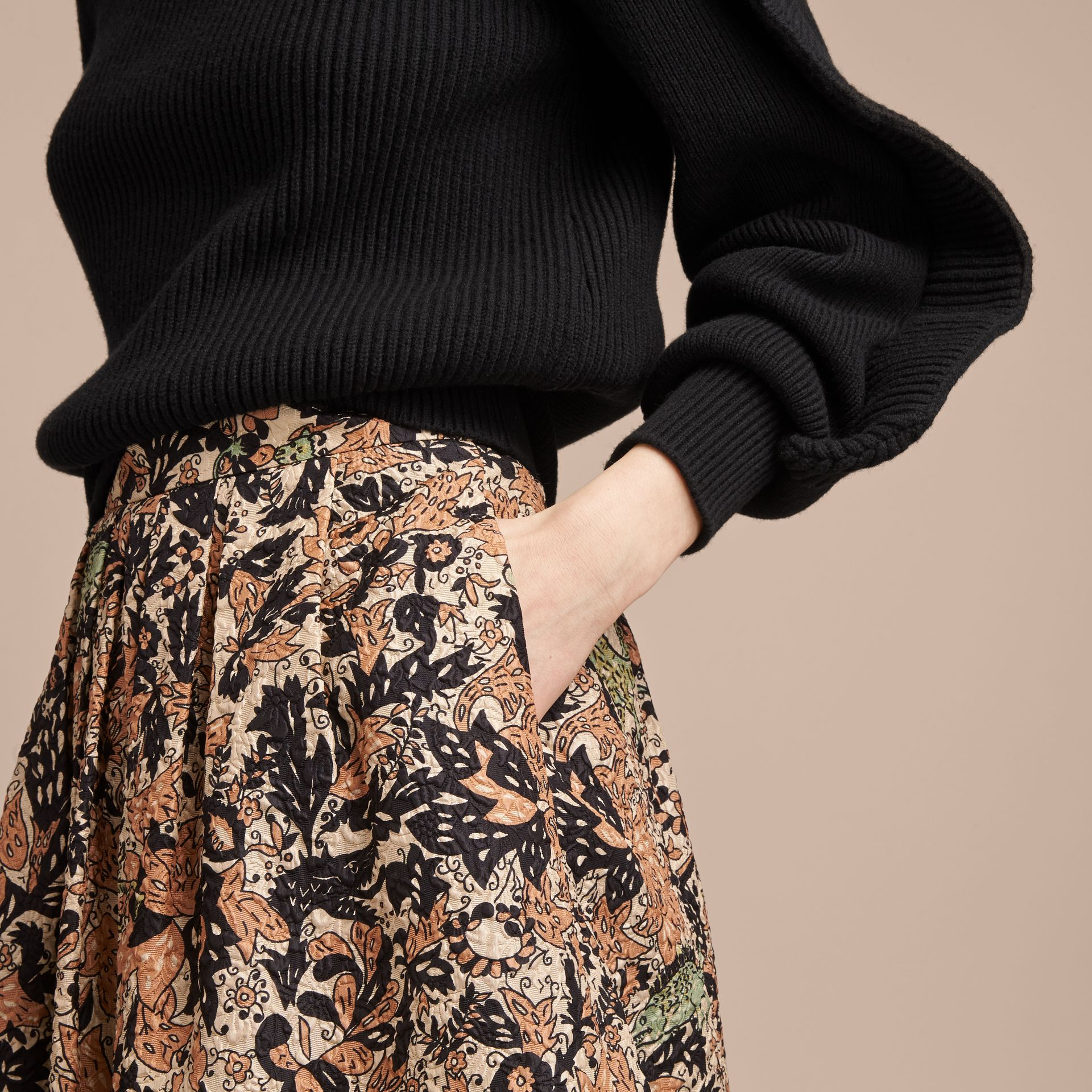 Beasts Print Technical Silk Voluminous Skirt in Antique Taupe Pink - Women | Burberry United Kingdom - gallery image 5