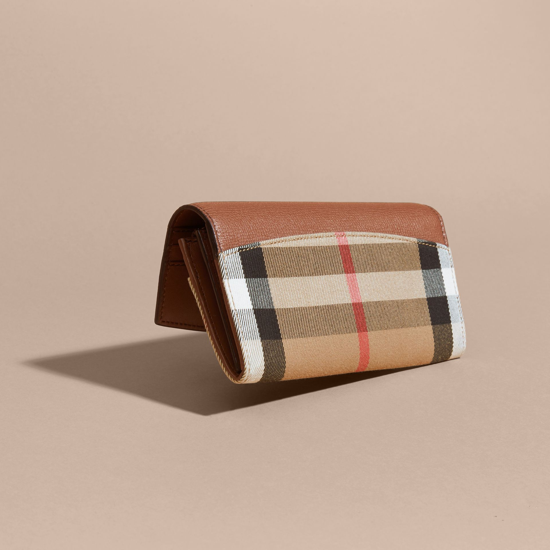 House Check And Leather Continental Wallet in Tan - Women | Burberry - gallery image 3