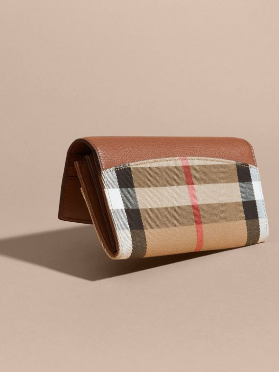 House Check And Leather Continental Wallet in Tan - Women | Burberry - cell image 2