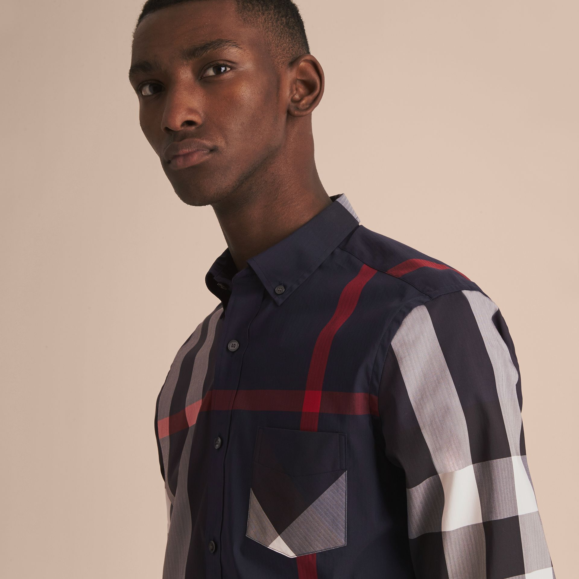 Button-down Collar Check Stretch Cotton Blend Shirt in Navy - Men | Burberry - gallery image 5