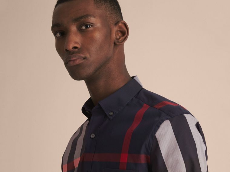 Button-down Collar Check Stretch Cotton Blend Shirt in Navy - Men | Burberry - cell image 4