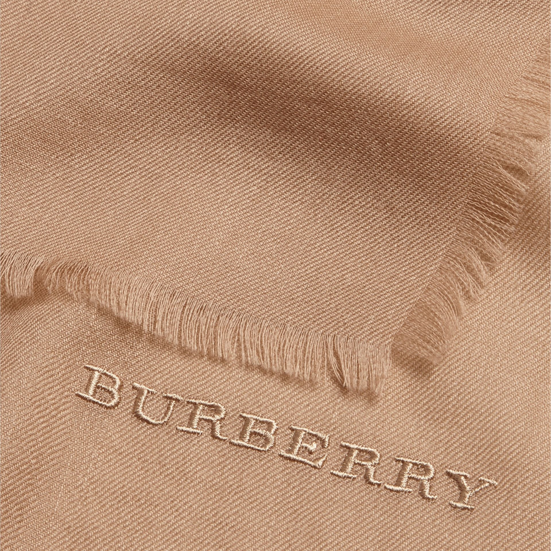 The Lightweight Cashmere Scarf in Camel - gallery image 5