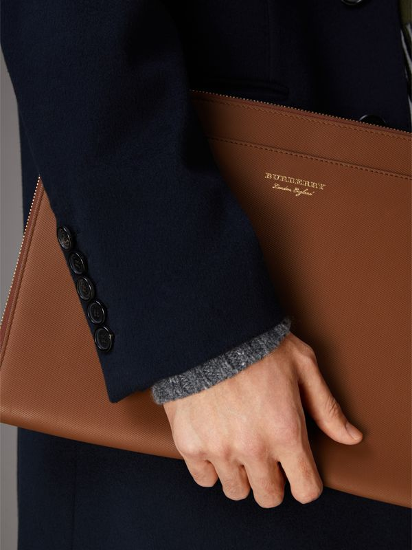 Trench Leather Document Case in Tan - Men | Burberry United Kingdom - cell image 3