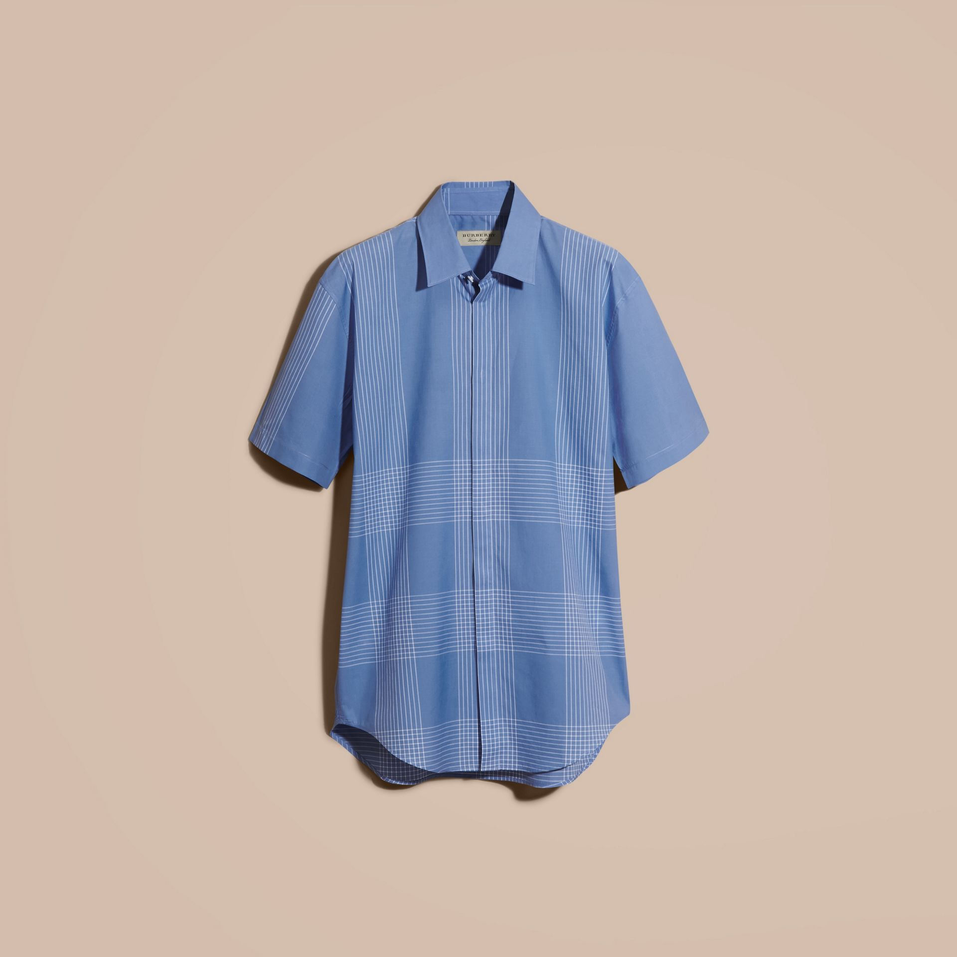 Bright hydrangea blue Short-sleeved Check Cotton Shirt Bright Hydrangea Blue - gallery image 4