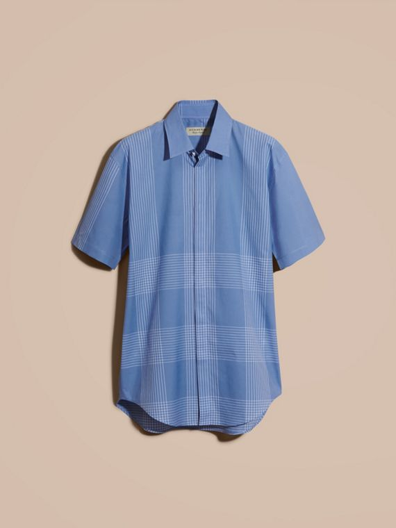Bright hydrangea blue Short-sleeved Check Cotton Shirt Bright Hydrangea Blue - cell image 3