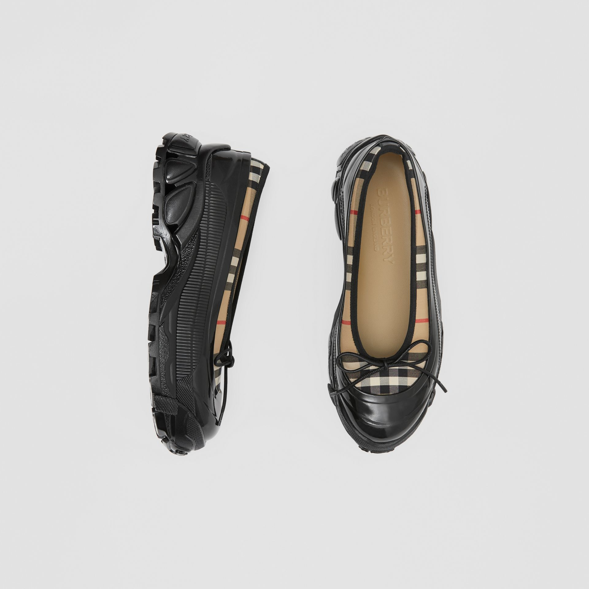 Overshoe Detail Vintage Check Cotton Flats in Archive Beige - Women | Burberry United States - gallery image 0