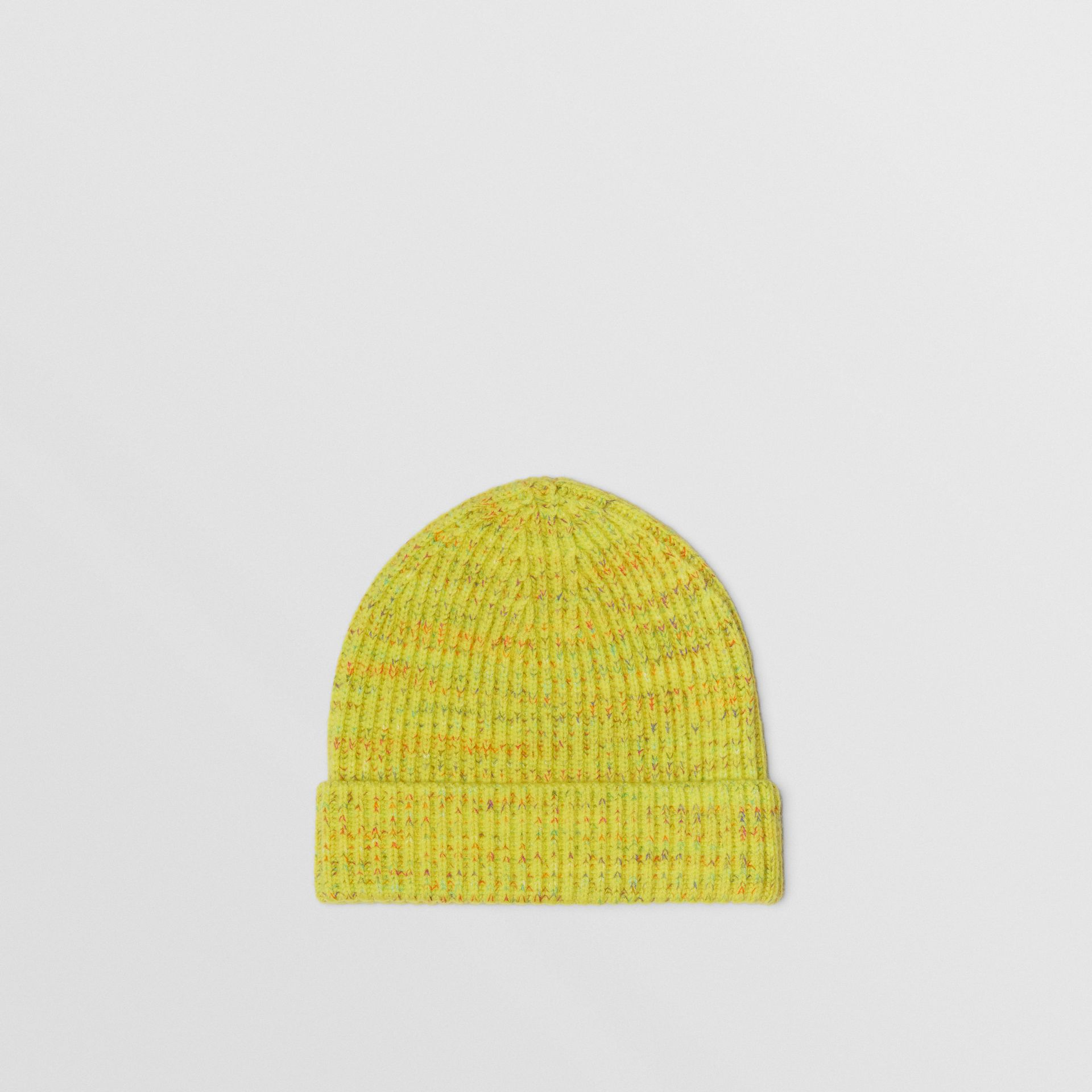 Embroidered Archive Logo Wool Blend Beanie in Gorse Yellow | Burberry United Kingdom - gallery image 4