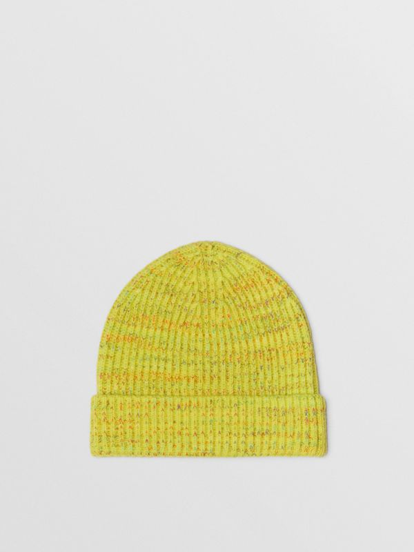 Embroidered Archive Logo Wool Blend Beanie in Gorse Yellow | Burberry United States - cell image 3