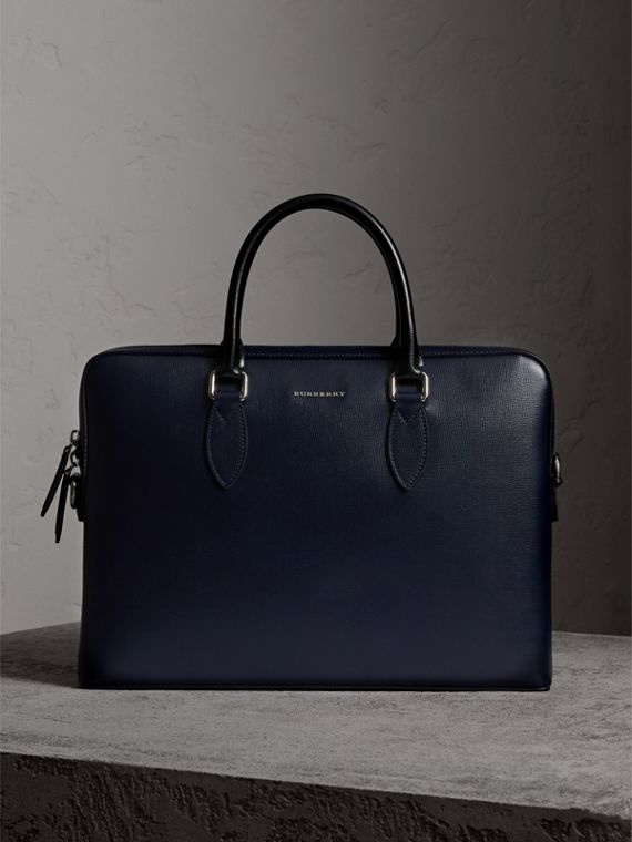 The Slim Barrow in London Leather in Dark Navy/black - Men | Burberry