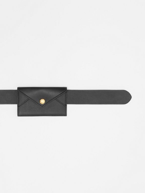 Envelope Detail Leather Belt in Black - Women | Burberry - cell image 1
