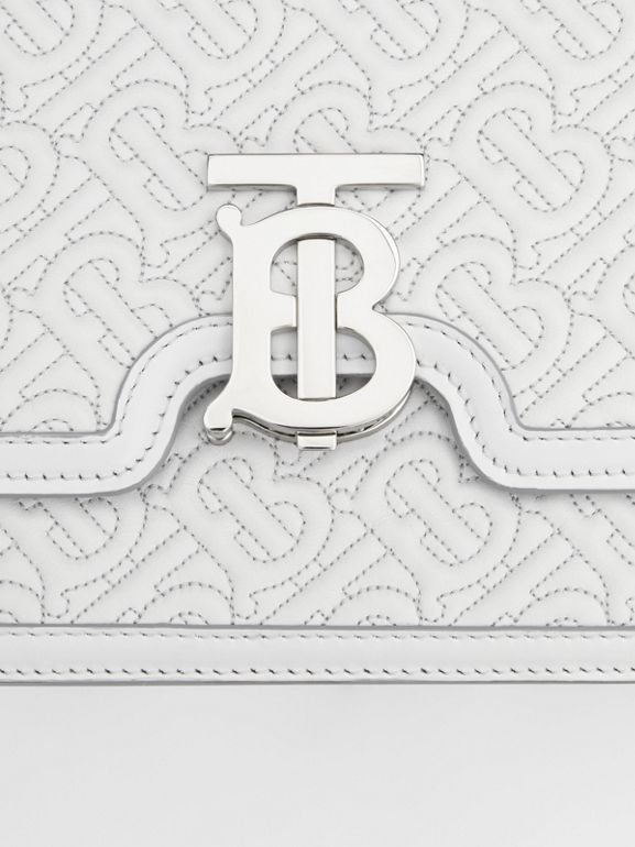 Medium Quilted Monogram Lambskin TB Bag in Light Pebble Grey - Women | Burberry United States - cell image 1
