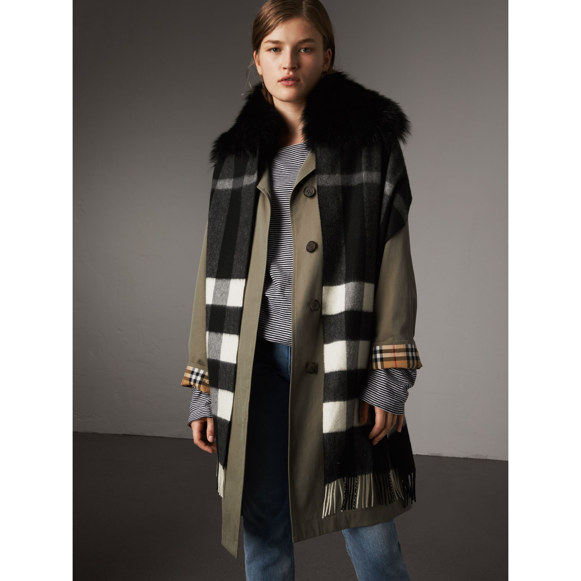 Fox Fur Trim Check Cashmere Scarf in Black/black - Women | Burberry Australia - gallery image 3
