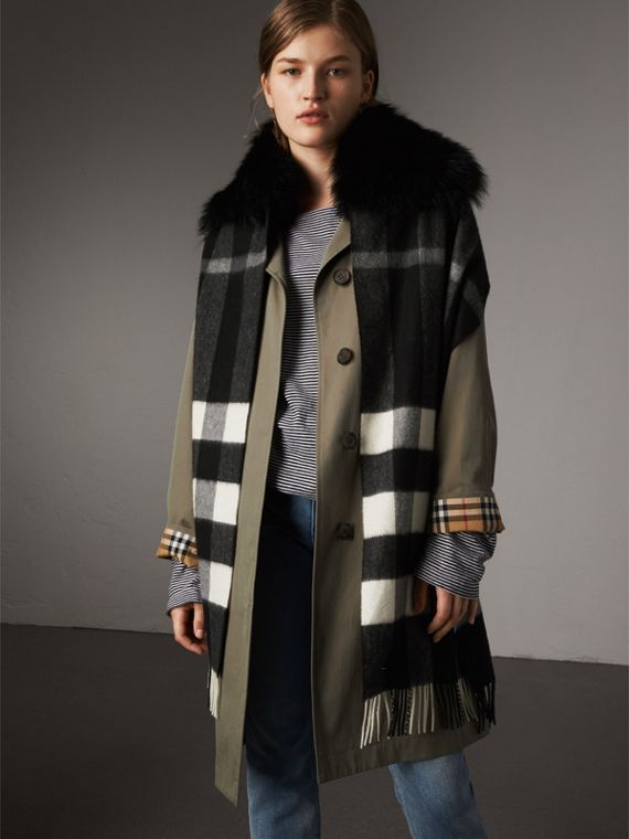 Fox Fur Trim Check Cashmere Scarf in Black/black - Women | Burberry Australia - cell image 2